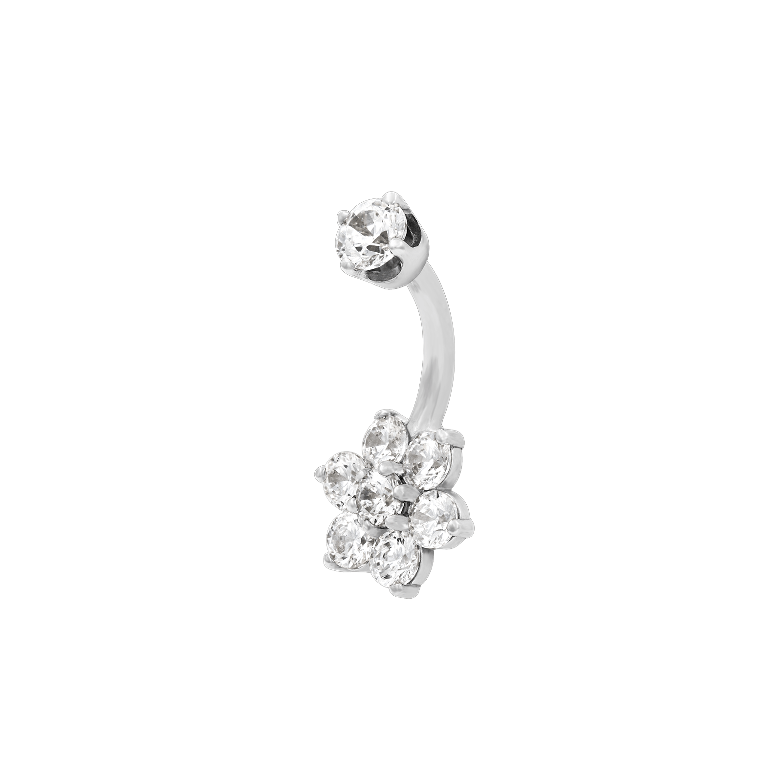 Flower CZ Navel Bar in 14k White Gold by LeRoi - Pierced