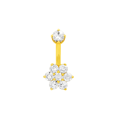 Flower CZ Navel Bar in 14k Yellow Gold by LeRoi - Pierced