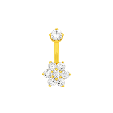 Flower CZ Navel Bar in 14k Yellow Gold by LeRoi