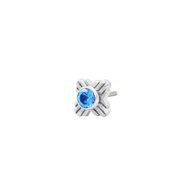 Zia Arctic Blue CZ End  in 14k White Gold by LeRoi