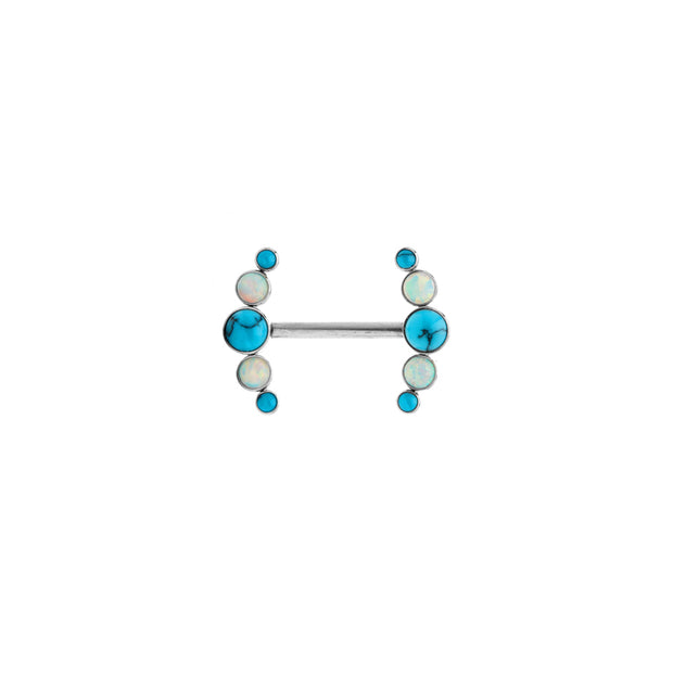 LeRoi Bijoux 5 Gem Arc Nipple Bar in Titanium with Turquoise and White Opal