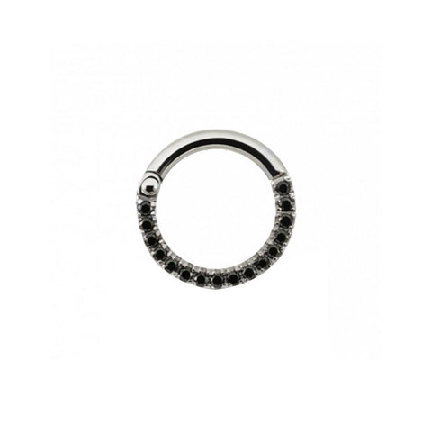 Eternity Black CZ Clicker in Titanium by Maria Tash