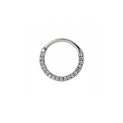 Maria Tash Eternity Clicker in Titanium with Clear Gems