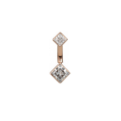 Princess Solitaire CZ Navel Bar in 14k Rose Gold by Maria Tash