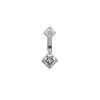 Maria Tash Gold Princess Navel Bar in 14k White Gold with Cubic Zirconia