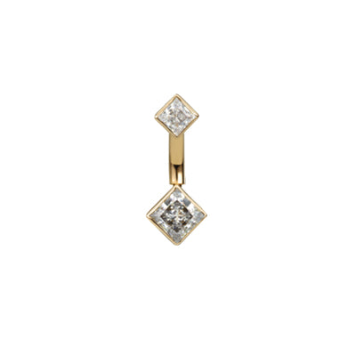 Maria Tash Gold Princess Navel Bar in 14k Yellow Gold with Cubic Zirconia