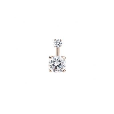 Maria Tash Gold Prong Solitaire Navel Bar in 14k Rose Gold with Cubic Zirconia