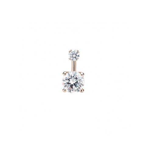 Prong Solitaire CZ Navel Bar in 14k Rose Gold by Maria Tash
