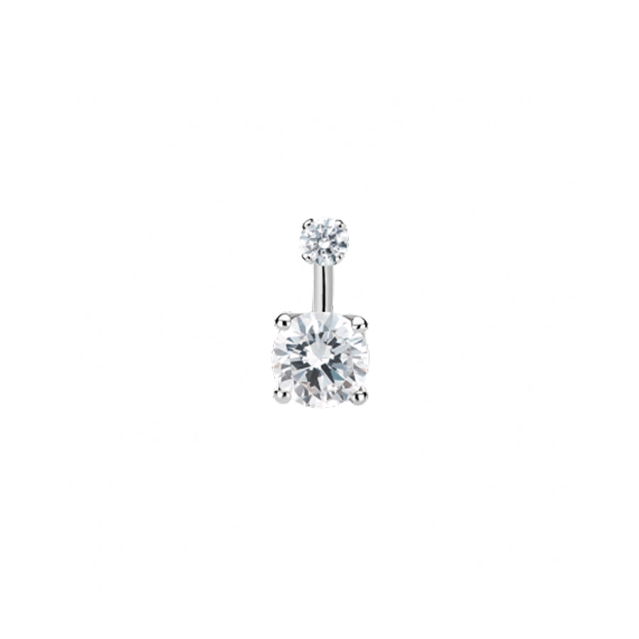 Maria Tash Gold Prong Solitaire Navel Bar in 14k White Gold with Cubic Zirconia