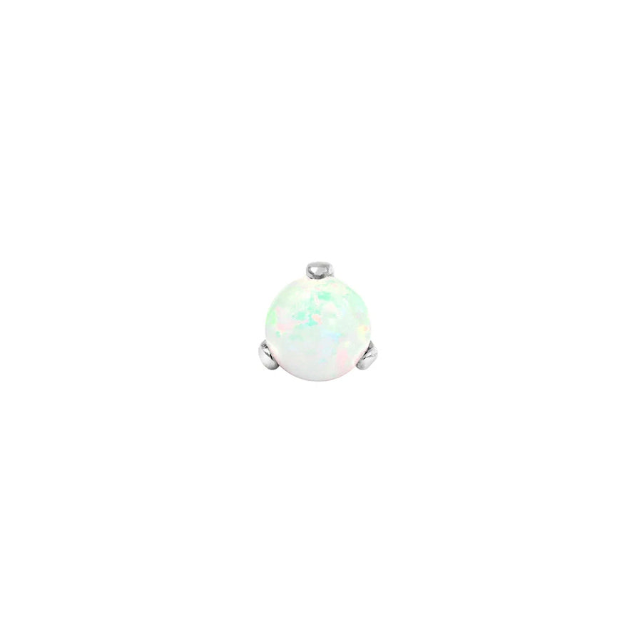 Prong-set White Opal Ball End in 14k White Gold by Junipurr