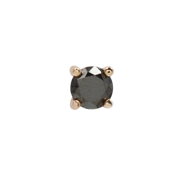 Prong Genuine Black Diamond End in 14k Rose Gold by Buddha Jewelry