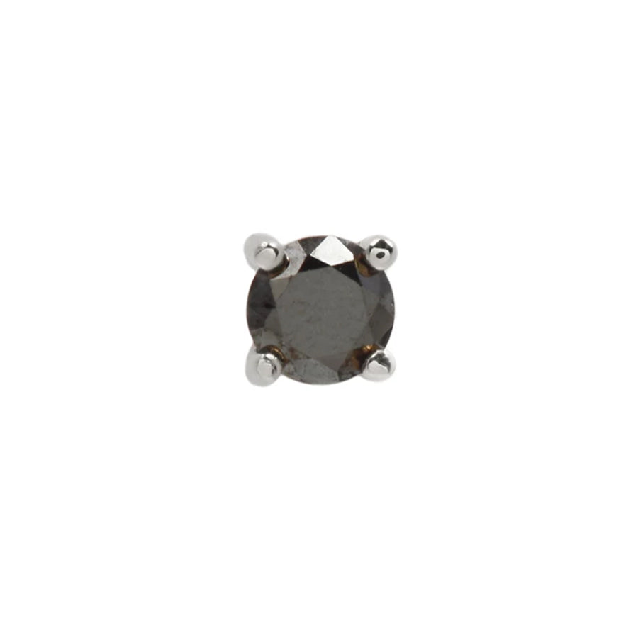 Prong Genuine Black Diamond End in 14k White Gold by Buddha Jewelry