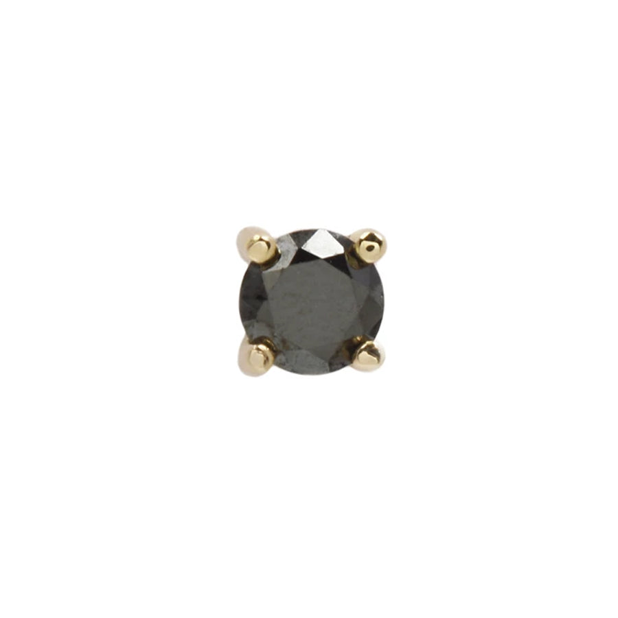 Prong Genuine Black Diamond End in 14k Yellow Gold by Buddha Jewelry