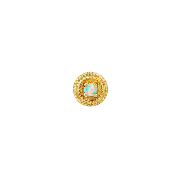White Opal Round Double Millgrain in 14k Yellow Gold by Junipurr
