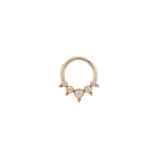 Simone Swarovski CZ Clicker in 14k Rose Gold by Buddha Jewelry