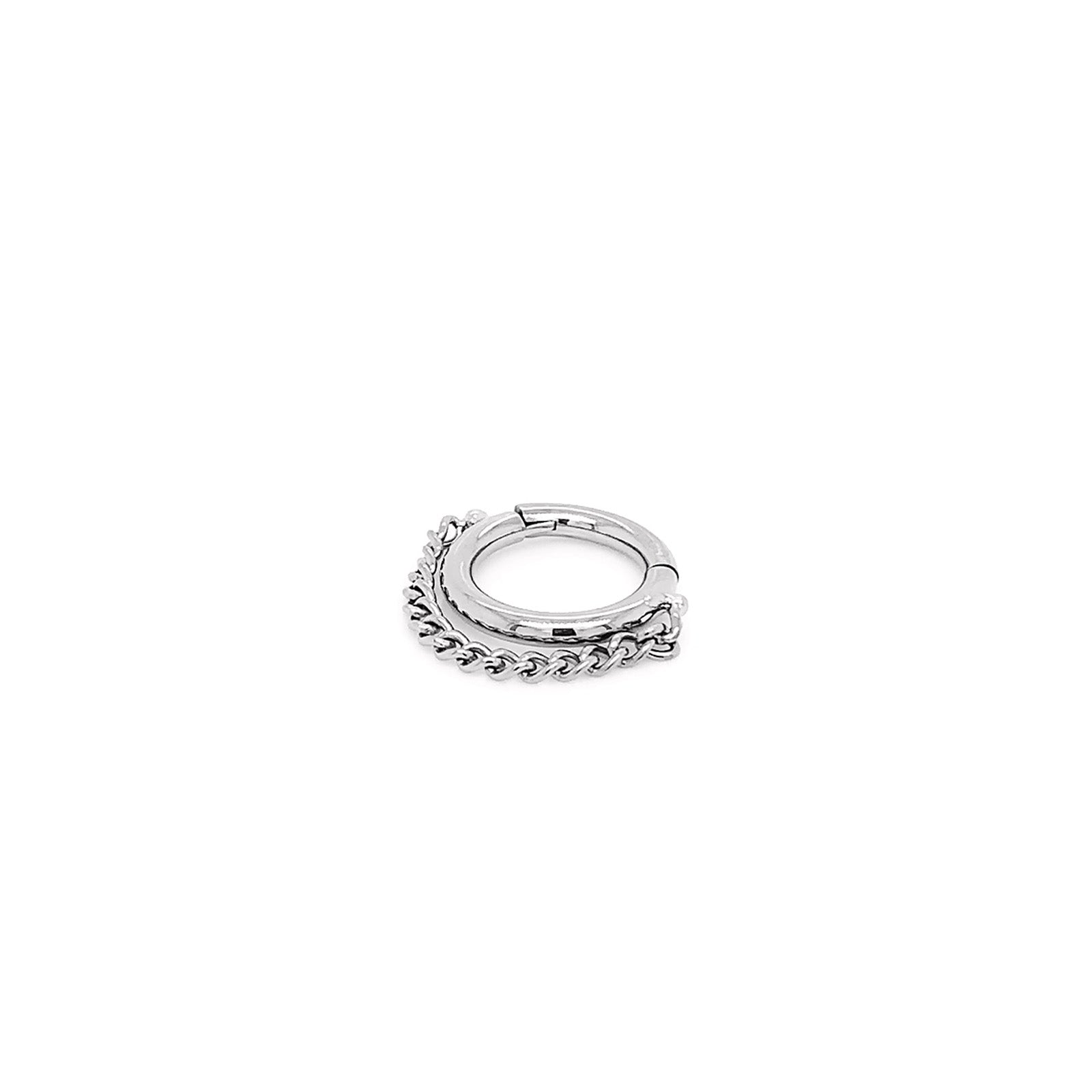 Single Chain Hinge Ring in Titanium by Zadamer Jewelry