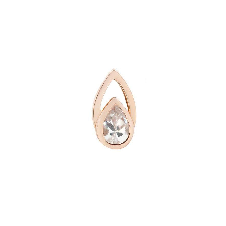 Echo CZ End in 14k Rose Gold by Buddha Jewelry - Pierced