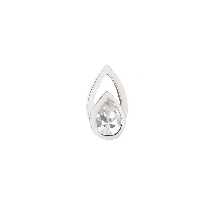 Echo CZ End in 14k White Gold by Buddha Jewelry - Pierced