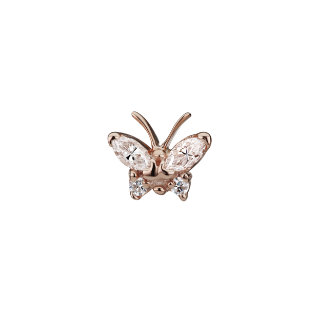 Maria Tash Marquise Butterfly in 14k Rose Gold with Cubic Zirconia
