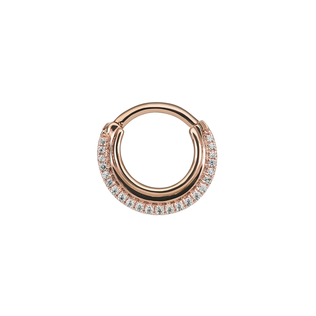 Maria Tash Dhara Clicker in 14k Rose Gold with Clear Gems