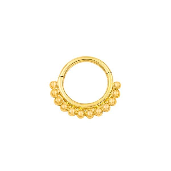 Beaded Clicker Ring in 14k Yellow Gold by Junipurr - Pierced