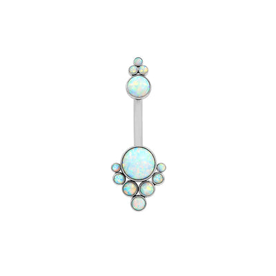 LeRoi Bijoux Tiara Cluster Navel Bar in Titanium with White Opal