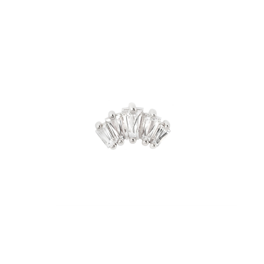 Gemma Swarovski End in 14k White Gold by Buddha Jewelry