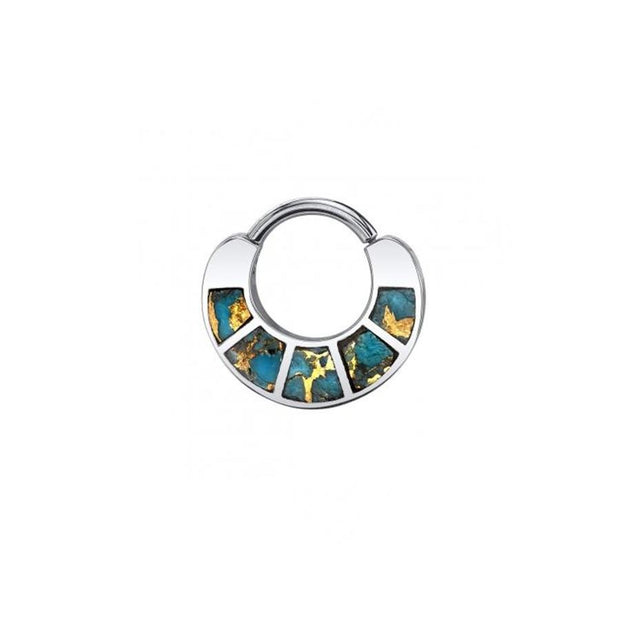 BVLA Islay Clicker in 14k White Gold with Copper Turquoise - Pierced