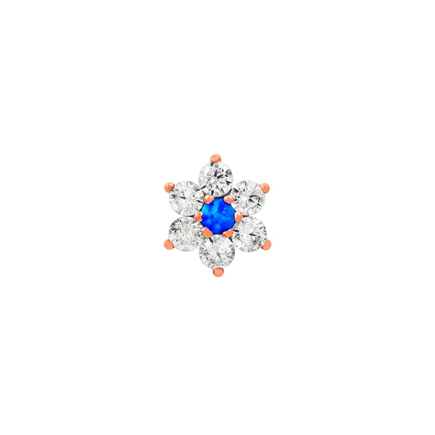 Swarovski and Blue Opal Flower in 14k Gold by Junipurr