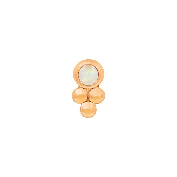 Bezel-Set Tri-Bead with White Opal end in 14k Rose Gold by Junipurr