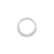 Pavé Seam Ring with Clear CZ in 14k White Gold