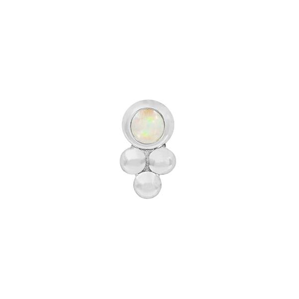 Bezel-Set Tri-Bead with White Opal end in 14k White Gold by Junipurr