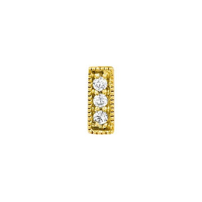 3 Gem Millgrain Clear Swarovski Bar in 14k Yellow Gold by Junipurr - Pierced