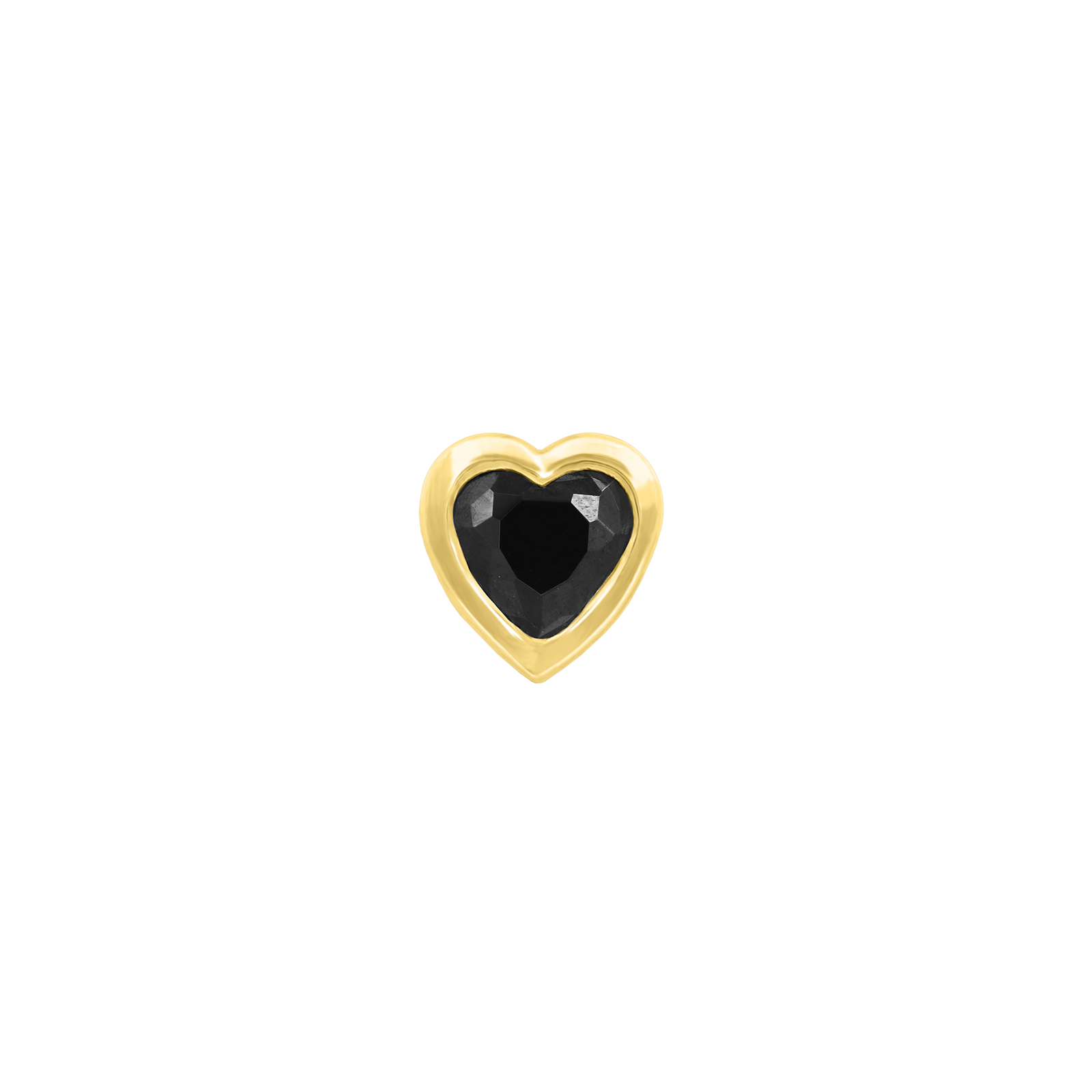 Black CZ Heart Bezel in 14k Yellow Gold by Junipurr
