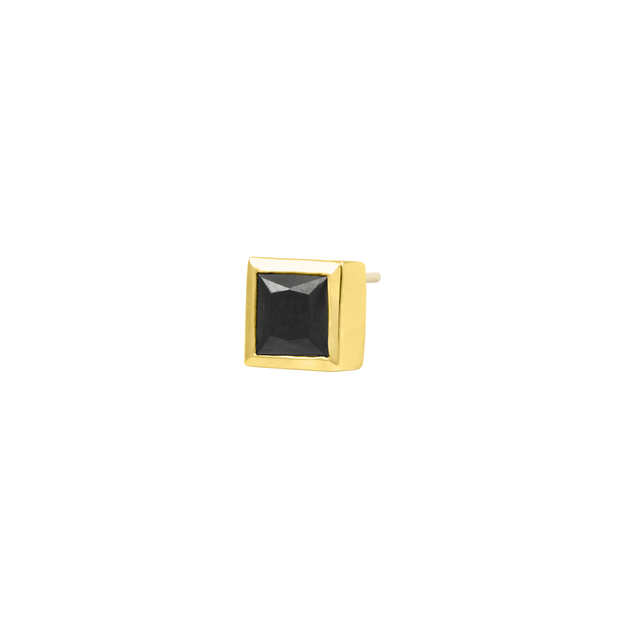 Square Bezel Black CZ End in 14k Yellow Gold by Junipurr
