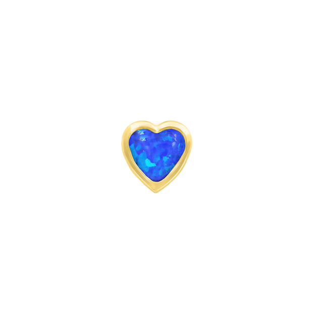 Heart Bezel Blue Opal End in 14k Yellow Gold by Junipurr