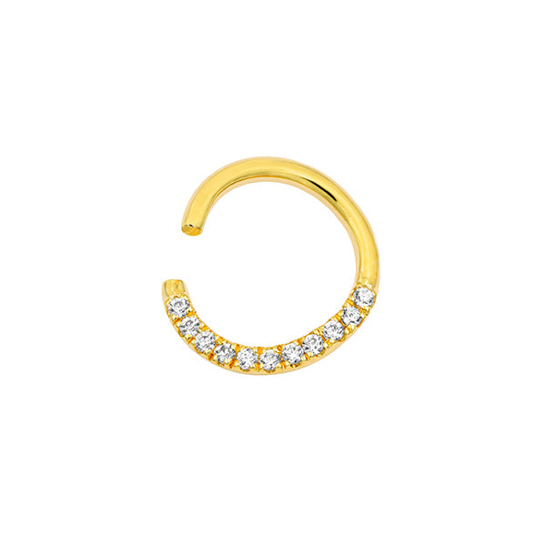 Pavé Seam Ring with Clear CZ in 14k Yellow Gold