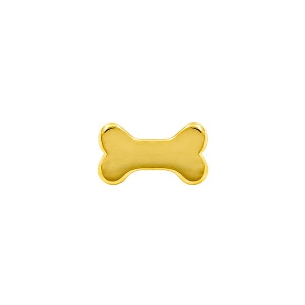 Dog Bone End in 14k Yellow Gold by Junipurr - Pierced