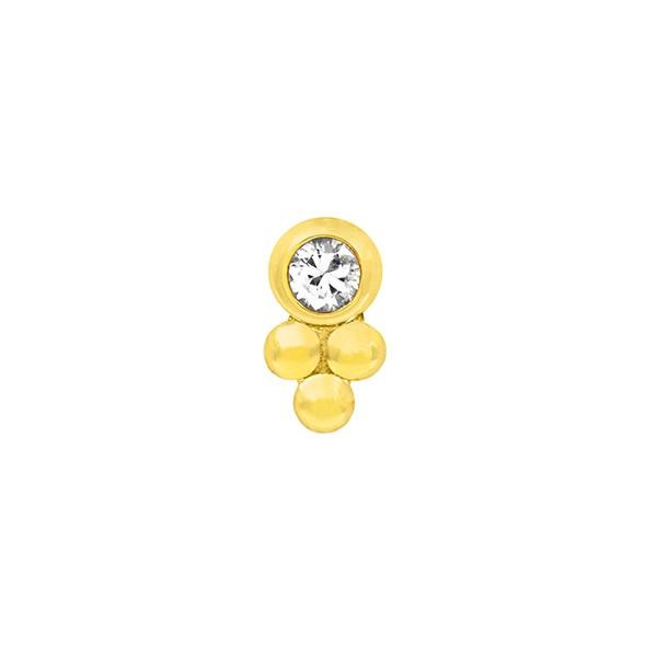 Bezel-Set Tri-Bead with CZ End in 14k Yellow Gold by Junipurr - Pierced