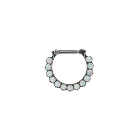 Industrial Strength Eternity Odyssey Clicker in Titanium with White Opal