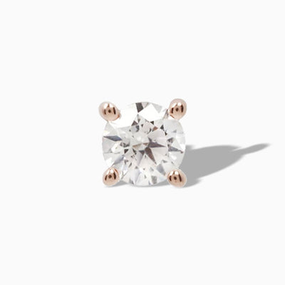 Genuine Diamond Prong  in 14k Rose Gold by Buddha Jewelry