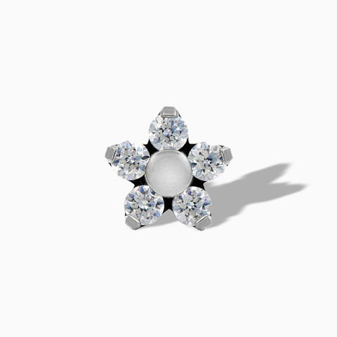 Flower Clear Swarovski End in Titanium by NeoMetal