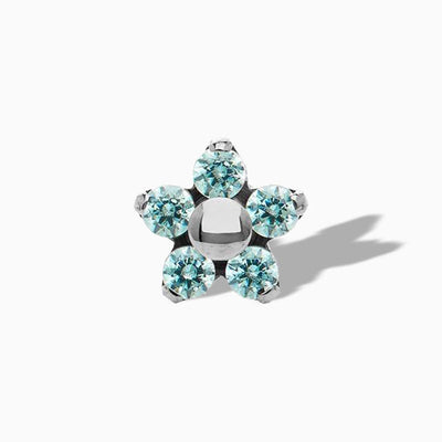 Flower Mint Green Swarovski End in Titanium by NeoMetal