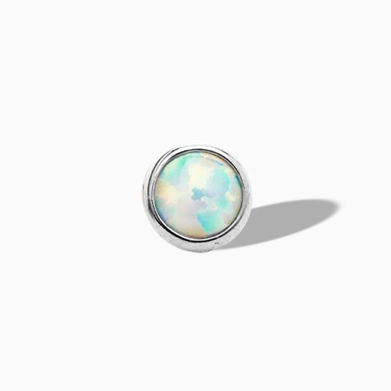Bezel-set White Opal End in Titanium by NeoMetal