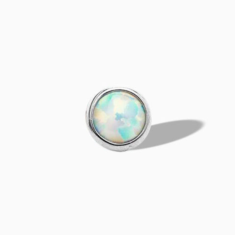 White Opal Bezel-set  in Titanium by NeoMetal