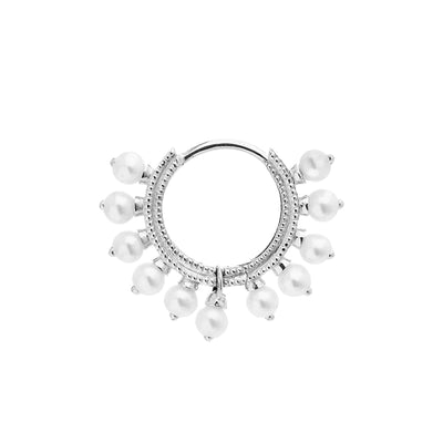 Maria Tash Pearl Coronet Clicker in 14k White Gold