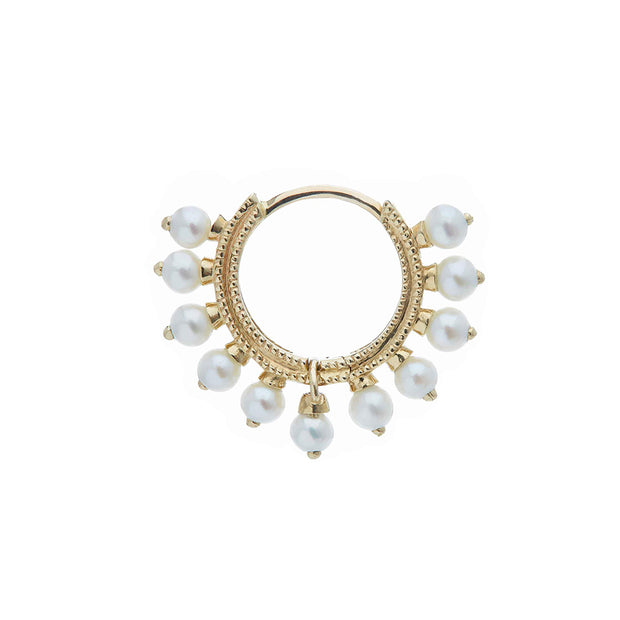 Maria Tash Pearl Coronet Clicker in 14k Yellow Gold