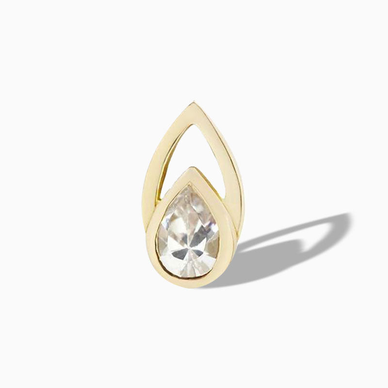 Echo CZ End in 14k Yellow Gold by Buddha Jewelry
