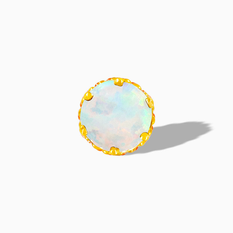 White Opal Crown-set in 14k Yellow Gold by Junipurr