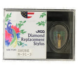 JICO 78 RPM replacement for Shure N-91-3 stylus in packaging